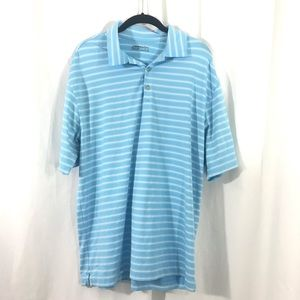 Nike Golf Dri Fit Blue Striped Polo Shirt L